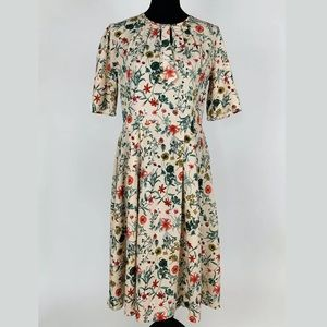 Acevog Floral Short Sleeve A-Line Dress L Blush